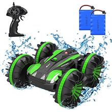 4WD Amphibious Remote Control Car, 2.4Ghz 1/18 Waterproof RC Stunt Car Boat wi