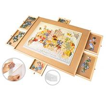 1500 Piece Wooden Jigsaw Puzzle Table - 6 Drawers, 9 Glue Sheets & 3 Hangers
