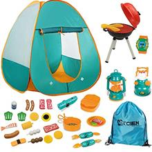 Mitcien Kids Camping Tent Gear Set Pop Up Play Tent with Pretend BBQ Toys Camp