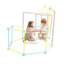 77 Pieces Flexible Construction Fort - Win SPORTS,Building Kit for Kids,Builde