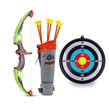GoBroBrand Bow and Arrow Set for Kids -Green Light Up Archery Toy Set -Include