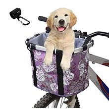 AIWEILUCK Bike Basket for Dogs, Small Pet Folding Bicycle Basket Carrier with