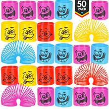 Mega Pack Of 50 Coil Springs - Assorted Emoji Silly Faces And Colors, Mini Spr