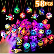 WEBSUN Halloween Party Favors 58 PCS LED Flash Rings & Light Up Necklaces for