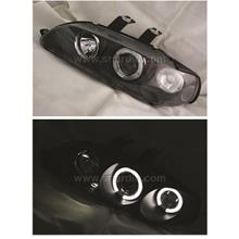Honda Civic EG 92-95 Black Projector Head Lamp w Ring