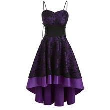 Lace Up Empire Waist Dip Hem Party Dress (Dark Violet)