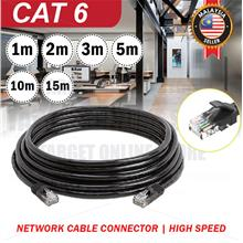 Black RJ45 CAT 6 Ethernet Network LAN Cable Modem Router Connector