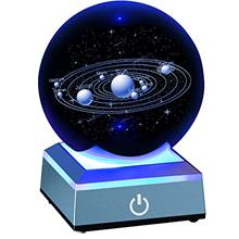 "ERWEI 3D Solar System Model Crystal Ball 80mm 3.15 "" Laser Engraved Holog"