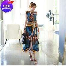 Korean Fashion Women Sleeveless Floral Print 2-Pieces Lady Dress