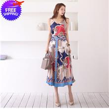 Women Soft Comfortable Sleeve Floral Print 2-Pieces Lady Dress