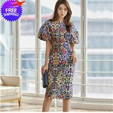 Floral Print Women Short Sleeve 2-Pieces Colorful Dress