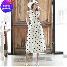 Elegant Korean Fashion Women Mid-Calf Dotted Dress
