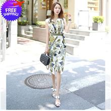 Office Lady Floral Print Sleeveless OL Dress