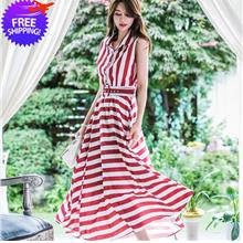 Women Lady Ankle Length Red Striped Sleeveless Dress With Waist Belt