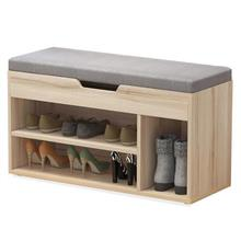 Wood shoe cabinet with cushion