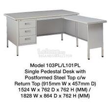 Steel Desk Single Pedestal Steel Top Cw Return Top L101PL 6' L103PL 5'