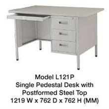 Steel Desk Single Pedestal With Steel Top L121P 4""