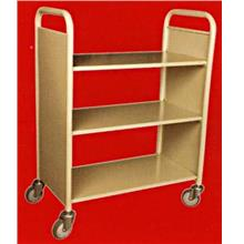 Library Book Trolley 3 Flat Shelves