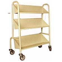 Library Book Trolley 1Sided 3Sloping Shelves Steel