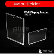 A3 A4 Wall Sign Clear Acrylic Display Frame Slot In Menu Holder