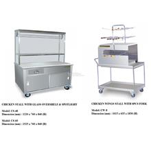 Chicken Stall With Glass Overshelf & Spotlight & Chicken Wing Stall ZZ