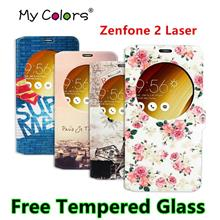 Asus Zenfone 2 Laser ZE601KL 6' Flip Case Cover Casing +Tempered Glass