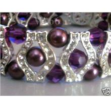 Purple 18KGP Diamond Swarovski Crystal n Pearl Bracelet