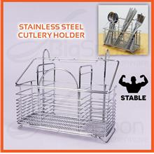 BIGSPOON 3-Compartment Stainless Steel Hanging Cutlery Holder Stand