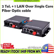 2 Telephone/Fax Line + 1 LAN Network Over Single Fiber optic cable Media Conve