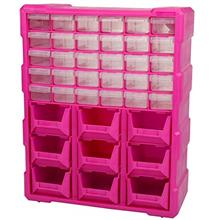39-Drawer Small Parts Organizer, Pink