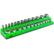 ARES 60007-26-Piece 3/8 in SAE Magnetic Socket Organizer -GREEN -Holds 13 Stan