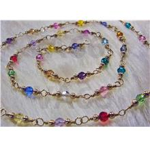 14K Gold Swarovski Crystals Wire Wrapped Necklace Multi Color 4mm