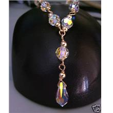 14K Gold Swarovski Crystal AB Necklace Suasa Teardrop 11mm 6mm