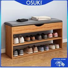 OSUKI Nature Wood Shoe Rack Chair 2 Layer (78 x 41cm)
