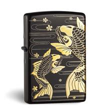 Japanese Black Matte Gold Plated Etching Crap Zippo Lighter