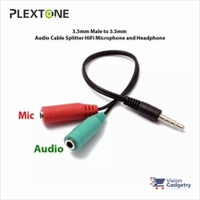 PLEXTONE 2 Female to 1 Male 3.5mm Audio Microphone Cable Y Splitter 19