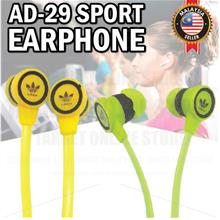 Earphone Adidas Sennheiser AD-29 Music Rubber Earbud No Call 3.5mm