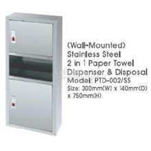 Stainles Steel 2In1 Dispenser & Disposal PTD002SS 300Wx140Dx750H MM QQ