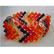 Bridal Orange Red Fire Shades Swarovski Crystal 7 row 5mm Bicone Brace