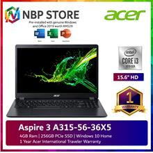 Acer Aspire 3 A315-56-36X5 15.6'' Laptop Obsidian Black