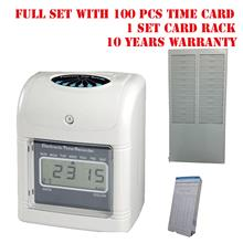 TIME RECORDER PUNCH CARD MACHINE + CARD AND RACK + WARRANTY