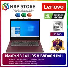 Lenovo IdeaPad 3 14IIL05 81WD00N1MJ 14'' FHD Laptop Cherry Red