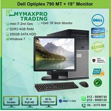 Dell Optiplex 790 MT i7 2nd Gen 4GB 250GB HDD + 19' inch Monitor