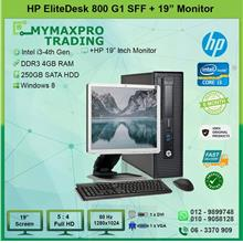 HP EliteDesk 800 G1 SFF i3 4th Gen 4GB 250GB HDD + 19' Monitor