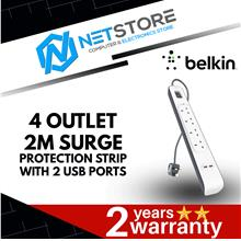 BELKIN 4 OUTLET 2M SURGE PROTECTION STRIP WITH 2 USB PORTS