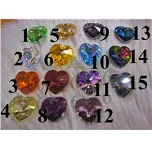 18mm Heart Swarovski Crystal Pendant 6202 AB 6228 Colours Loose Beads