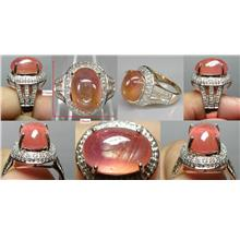 Padparadscha Sapphire with 64 diamonds pink gold plated silver ring