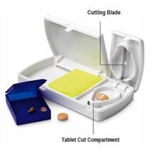 Mini Medicine Pill Box with Built-in Tablet Cutter