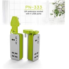 Pineng 333 PN333 Power Extension Socket w 4x USB Port 4.2A Charger