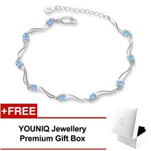 YOUNIQ Rock Stars 925 S.Silver Bracelet with Cubic Zirconia (Blue)